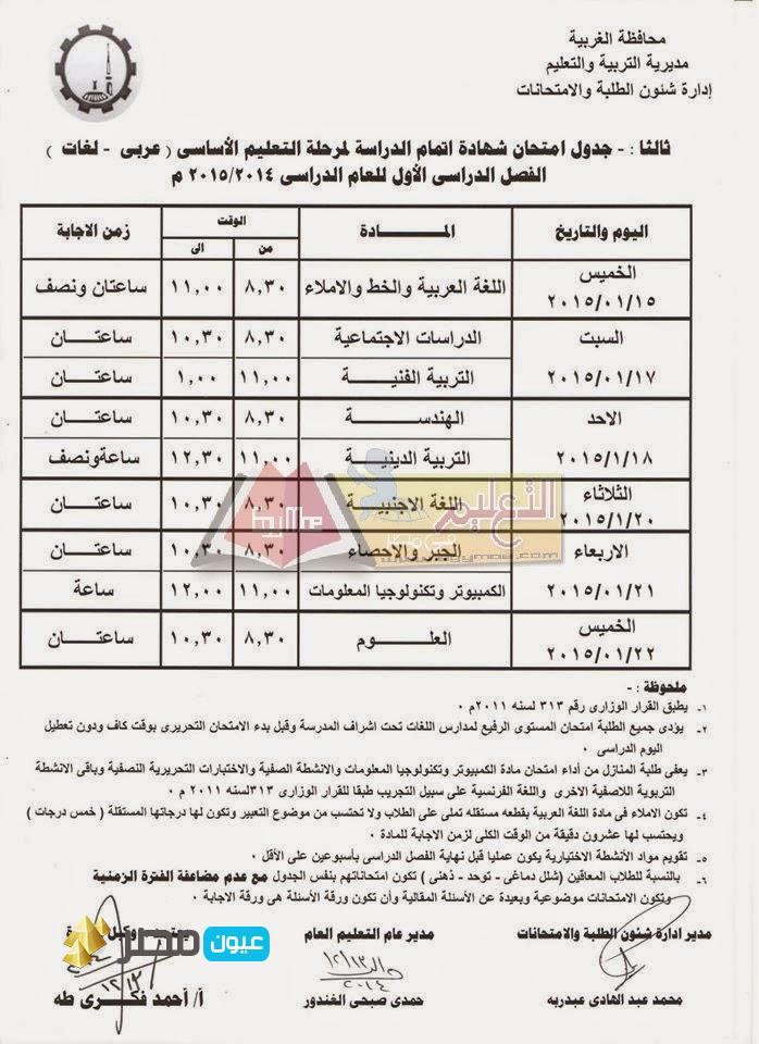 جدول امتحانات الشهادة الاعدادية بالغربية