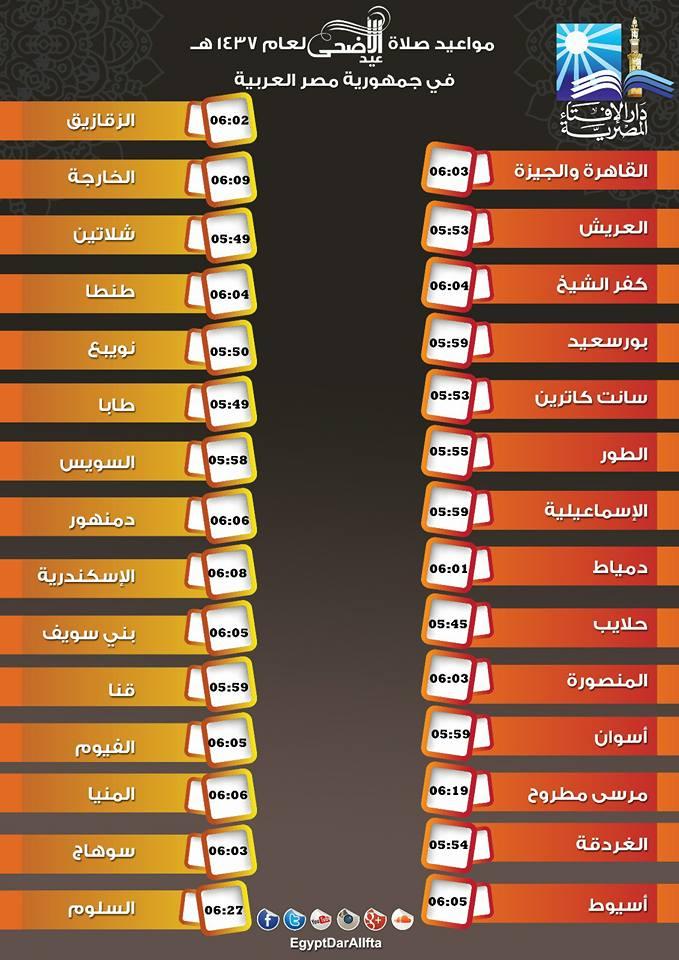 موعد صلاة عيد الاضحى المبارك 2016 - 1437