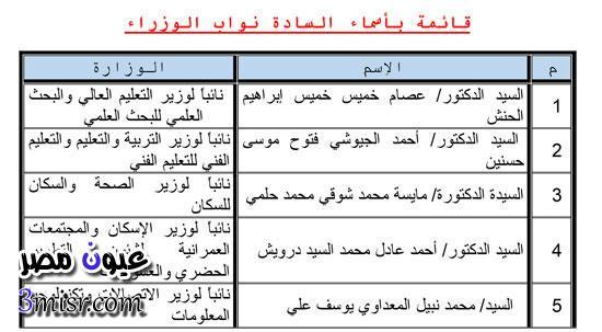 اسماء نواب الوزراء 2015