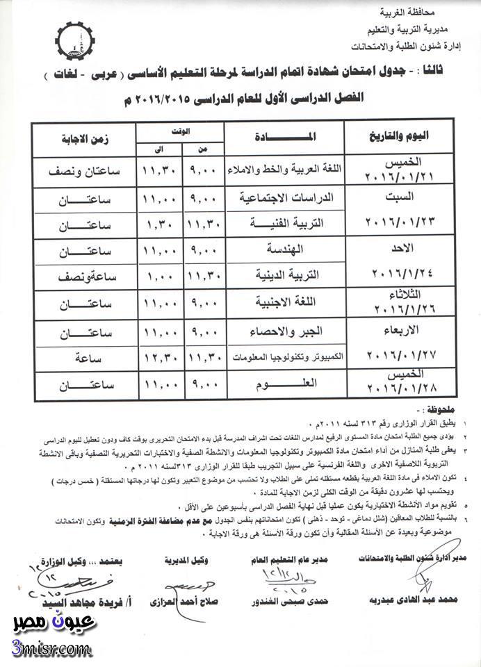 جدول امتحانات الغربية الاعدادية 2015