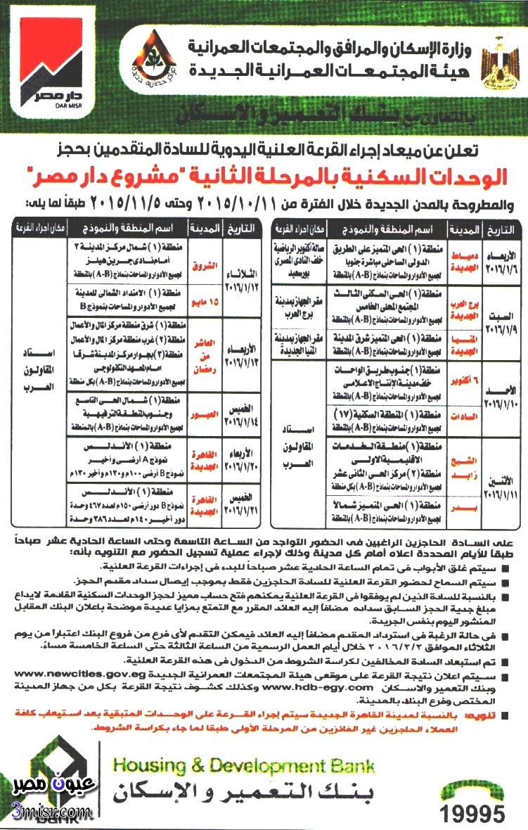 نتيجة القرعة العلنية لمشروع شقق دار مصر هيئة المجتمعات العمرانية الجديدة