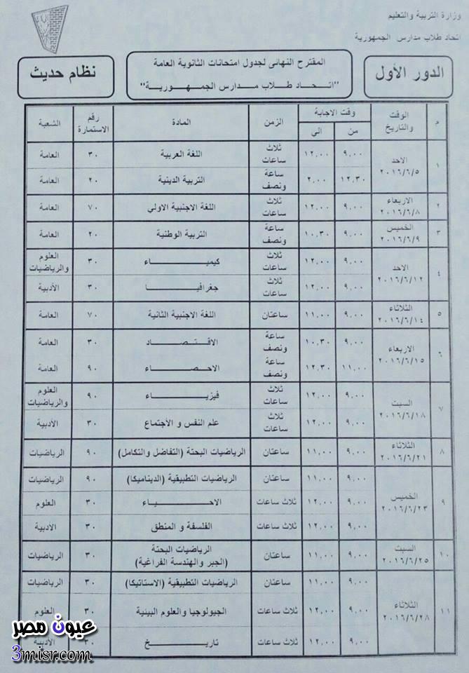 جدول امتحانات الثانوية العامة 2016 موقع وزارة التربية والتعليم